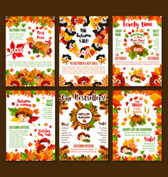 Autumn sale discount fall shop posters set vector