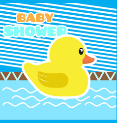 baby shower card with a rubber duck vector image