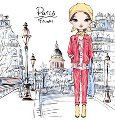 Bagirl in paris vector