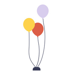 birthday balloons greeting element flat style vector image
