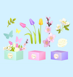 Box and flowers set poster vector