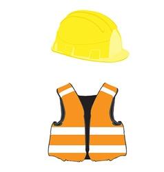 Building helmet and vest vector