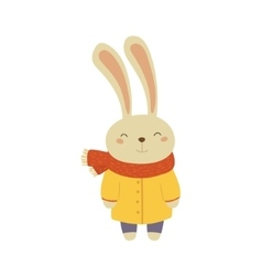 Bunny In Yellow Warm Coat Childish vector