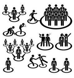 business network connection stick figure vector image