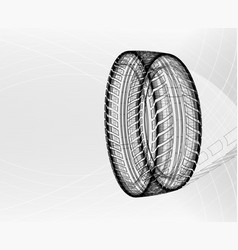 Car tire with tire marks on a light grey vector