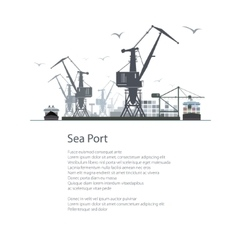 Cargo Sea Port Poster Brochure vector