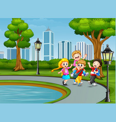 cartoon children playing in the park vector image