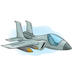 cartoon cool air jet fighter icon vector image