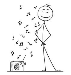 Cartoon of man listening a music from small radio vector