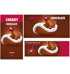 Chocolate packaging with cherry vector