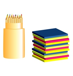 colored paper and pencils vector image