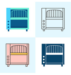 conveyor toaster icon set in flat and line styles vector image