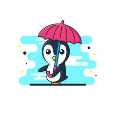 Cute bapenguin umbrella vector