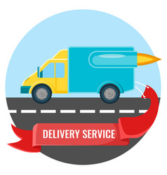delivery service placard with car on vector image
