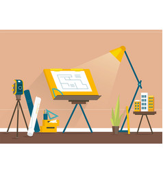 Designers workplace for creating projects vector
