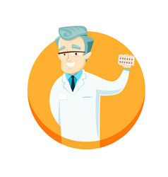 Doctor holding pills in their hands vector
