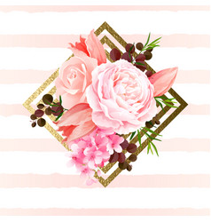 Elegance flowers bouquet color roses and tulips vector