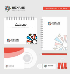 Fireworks logo calendar template cd cover diary vector