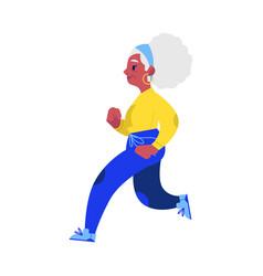 flat elderly woman in sportsuit jogging vector image