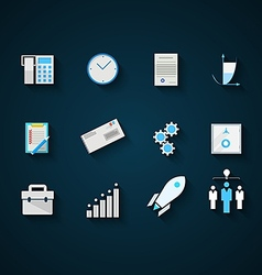 Flat icons colored collection for startup and vector image
