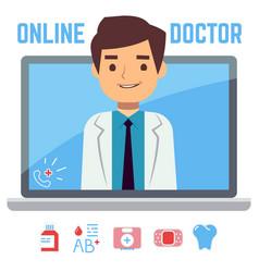 flat online doctor internet computer health vector image