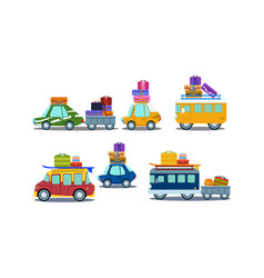 flat set of colorful vehicles with luggage vector image