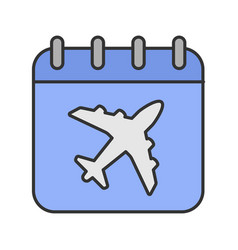 flight date color icon vector image