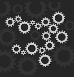 gears set on dark background vector image