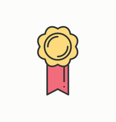 gold medal award with ribbon winner line thin vector image
