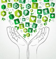 Green splash hands design vector image