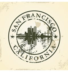 Grunge rubber stamp with San Francisco California vector image