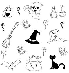 Halloween doodle set candy cat ghost vector
