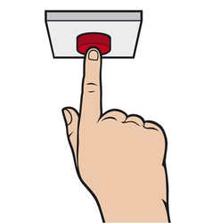 hand pressing alarm button vector image