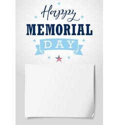 Happy memorial day usa lettering light banner vector