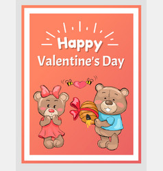 happy valentines male teddy bear holds hive honey vector image