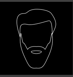 head with beard and hair white color path icon vector image