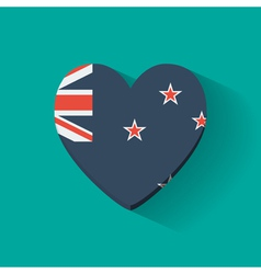 Heart-shaped icon with flag of New Zealand vector