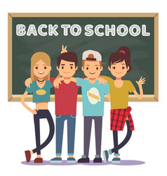 High school students and chalkboard - back vector