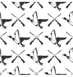 hunting seamless pattern with guns and ducks vector image