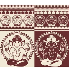 Indian god Ganesha yoga pattern vector image