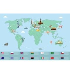 Infographic world landmarks on map vector image