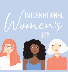 international womens day sign with women vector image