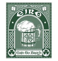 irish celtic design celtic-style clover mug of vector image