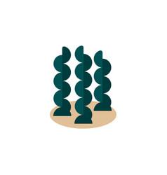 isolated seaweed flat icon alga element vector image