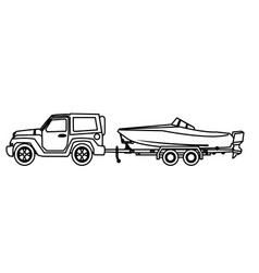 jeep car with boat over trailer vector image