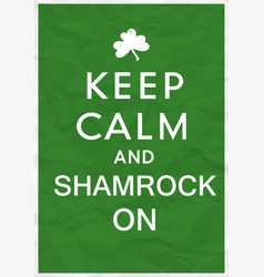 Keep calm poster with st patricks day greetings vector