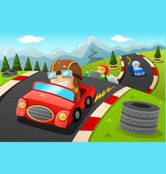 kids in a car racing vector image