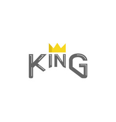 king typography gold crown text logo vector image