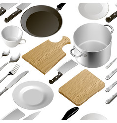 kitchen accessories dishes vector image