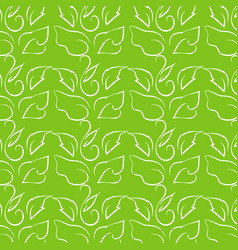 leaf line drawing on bright green background vector image